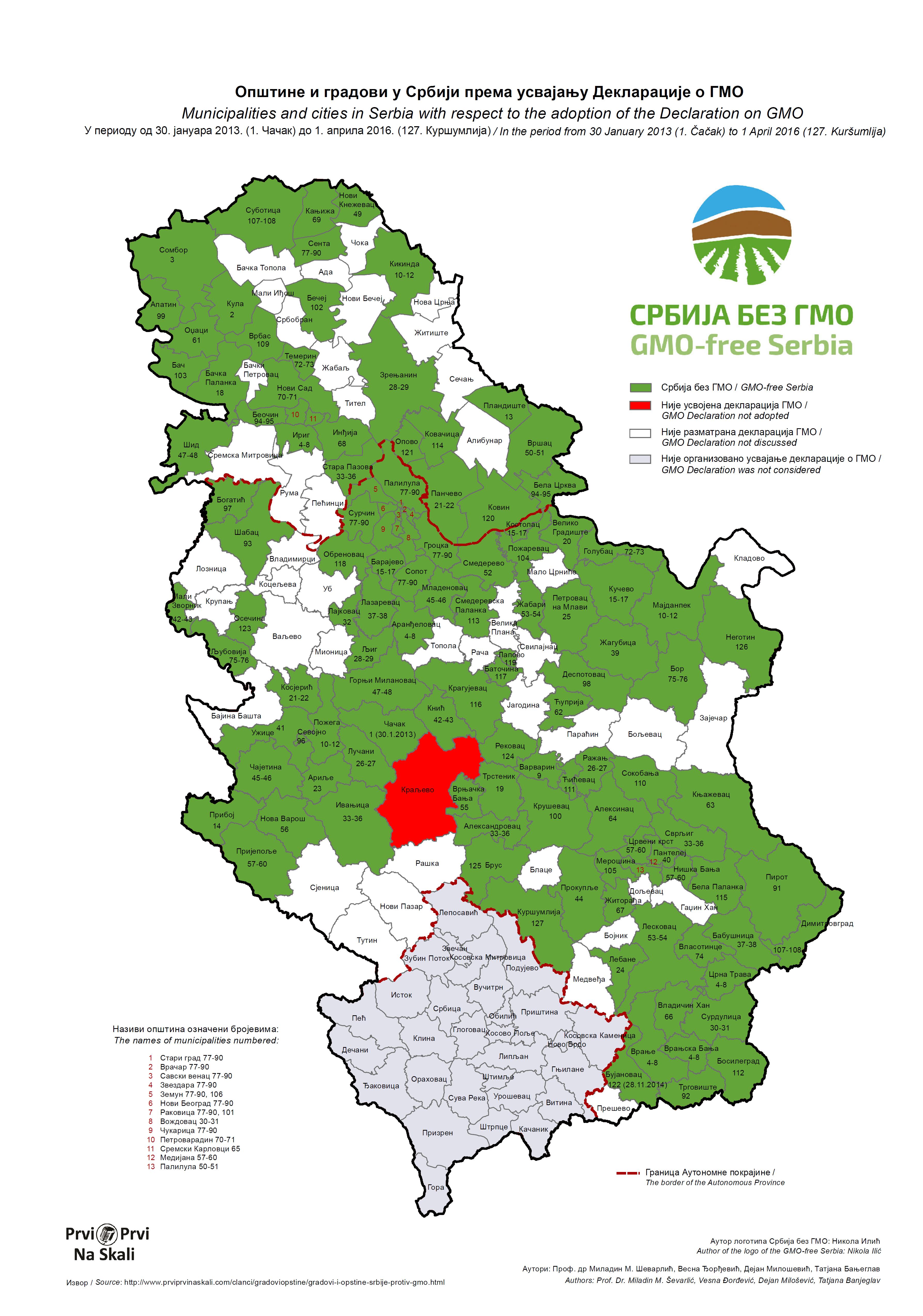 Karta 127 Opstina I Gradova Koje Su Usvojile Deklaraciju O Gmo