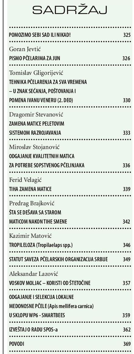 SADRŽAJ Srpski pcelar jun 2017 LAT_za sajt